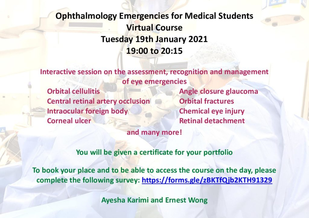 Opthalmology Emergencies for Medical Students Virtual Course